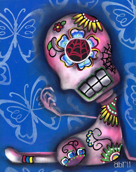unknown 2 by abril andrade griffith mexican sugar skulls canvas fine art print Day-of-the-Dead  fine-art-print  skeleton  sugar-skulls