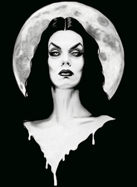 vampiress dark goddess of horror by shayne of the dead monster canvas art print maila-nurmi morticia-addams the-vampira-show horror artwork
