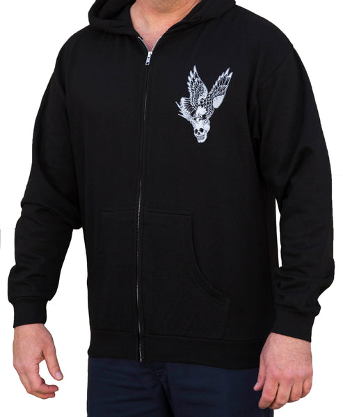 men's vengeance by 2 cents skull & eagle tattoo art design zip up black hoodie bald-eagle traditional vintage biker fashion