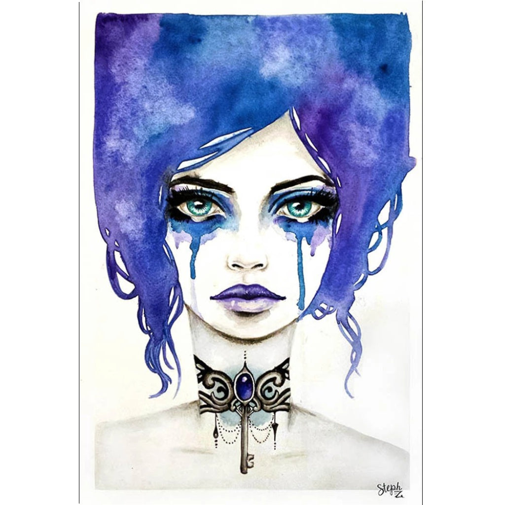 skeleton key crying girl woman artwork painting traditional tattoo flash designs color artwork artist black wood home decor l