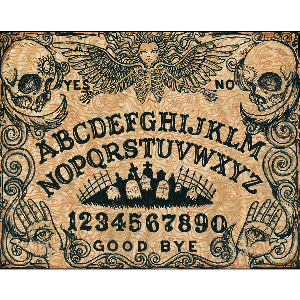goth wall artwork spirit board picture painting skull graveyard dark magic weegee wigi wall edgy witch wiccan gothic wall alt