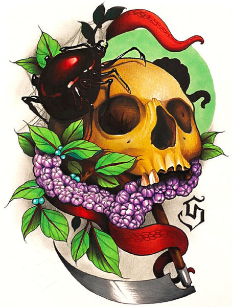 voyeur by siege spider skull with grapes and dagger tattoo canvas art print skeleton grape-vine machete knife gothic