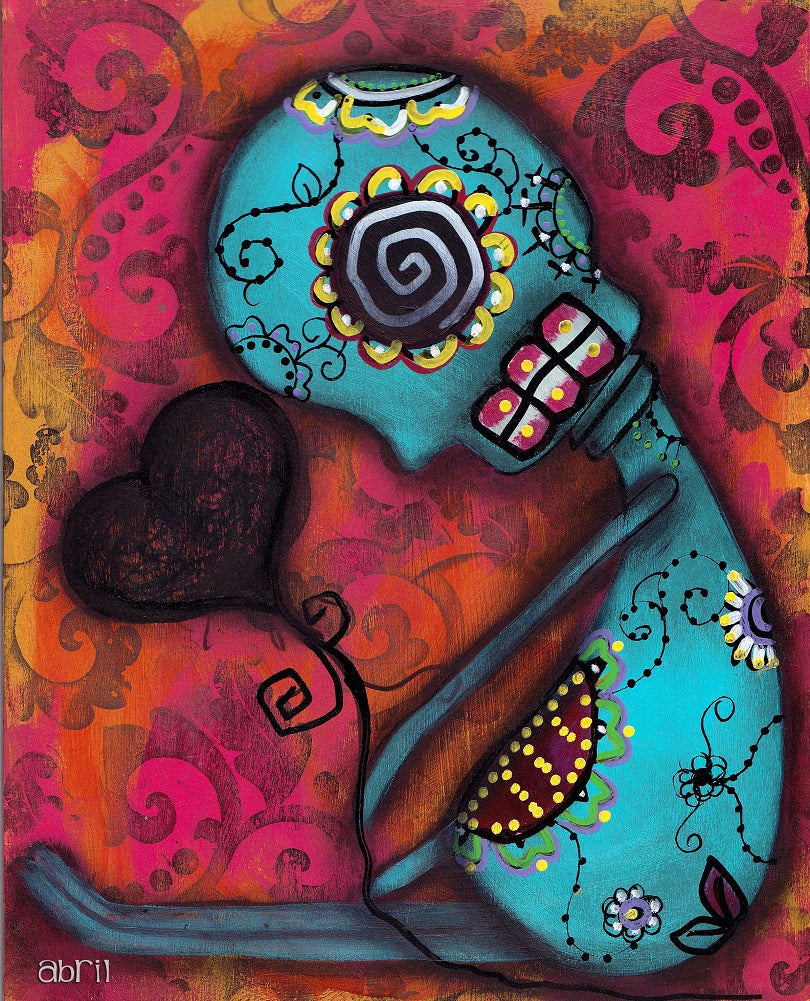 Waiting by Abril Andrade Sugar Skull Heart Fine Art Print Poster