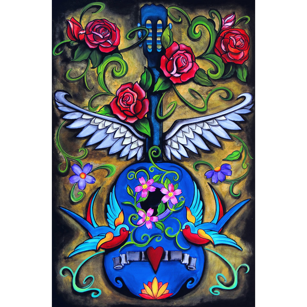 acoustic painting traditional tattoo red roses swallows flash designs color artwork floral flower winged mexican folkart brig