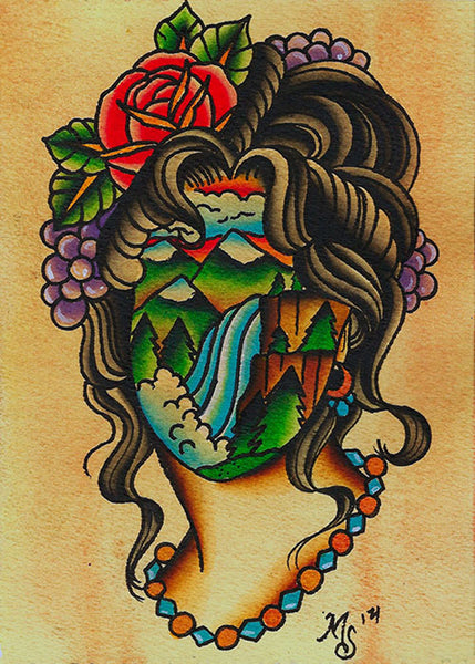 waterfall girl by artist mikey sarratt woman tattoo artwork canvas art print nature portrait indie traditional-tattoo-designs alternative-artwork