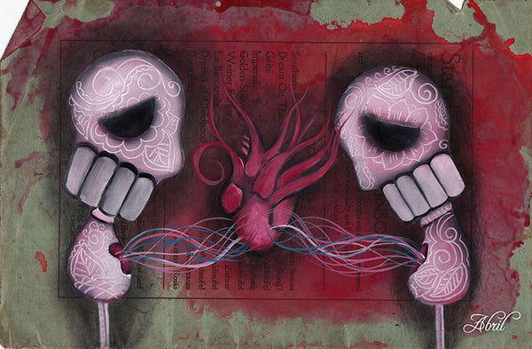 we are one by abril andrade two sugar skulls w anatomic heart canvas art print day-of-the-dead  mexican  dia-de-los-muertos artwork painting