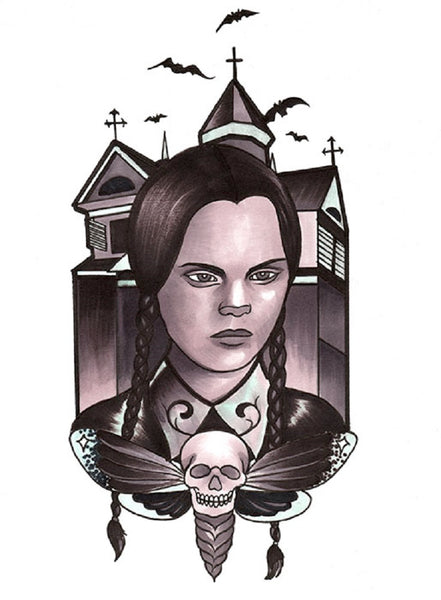 Wednesday by Thea Fear Addams Family Gothic Girl Canvas Fine Art Print
