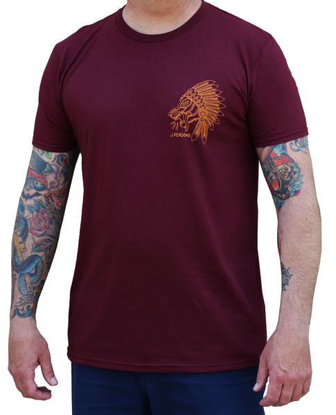 men's wolf spirit by josh persons native american headdress maroon red t-shirt indian streetwear design tribal tattoo