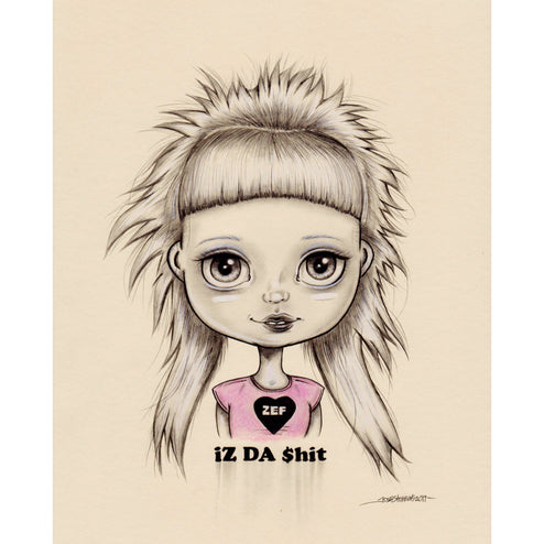 defiant graphite ink portrait beautiful bizarre surrealism young sassy dark illustration child home decor wall art young new