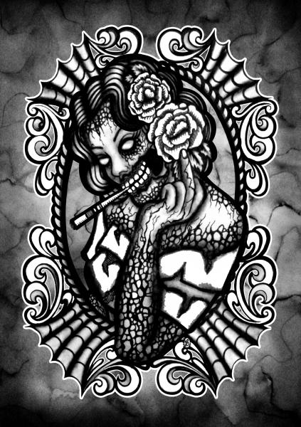 goth painting traditional tattoo flash designs color artwork artist black wood home decor large decoration alternative unique
