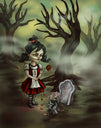 zombie graveyard by diana levin goth girl haunted forest grave canvas art print grave  zombie-hand  goth-girl  rose  haunted-forest