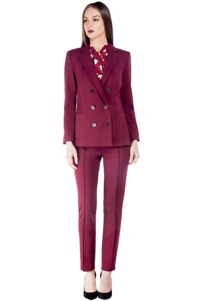 Double Breasted Blazer Oxblood - Blazers and Tops