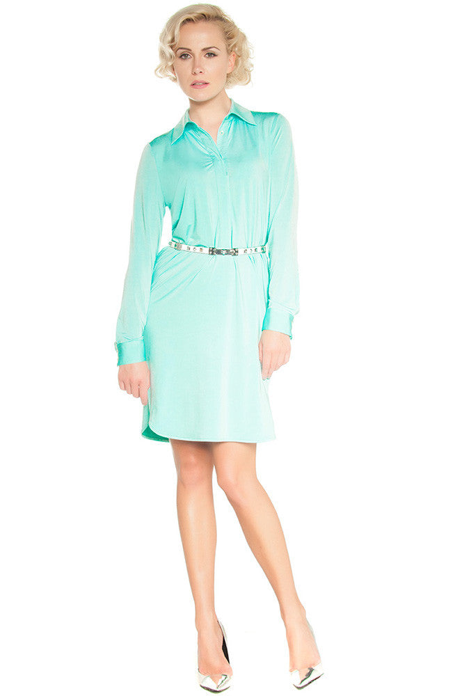Jersey Shirt Dress Mint - Dresses
