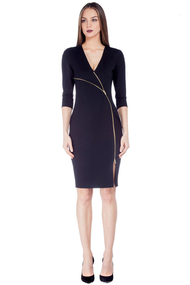 Zipper Dress Black - Dresses