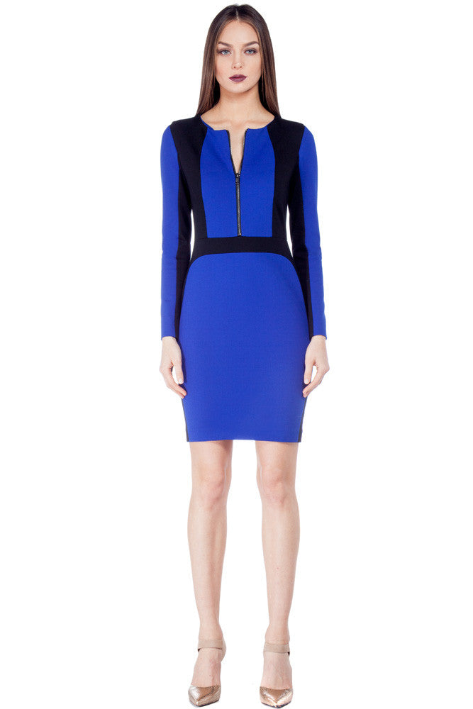 Scuba Zip Dress Cobalt - Dresses
