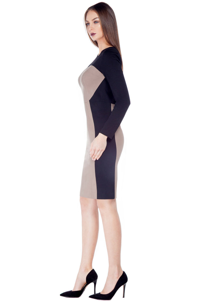 Colour Block V-Cut Dress