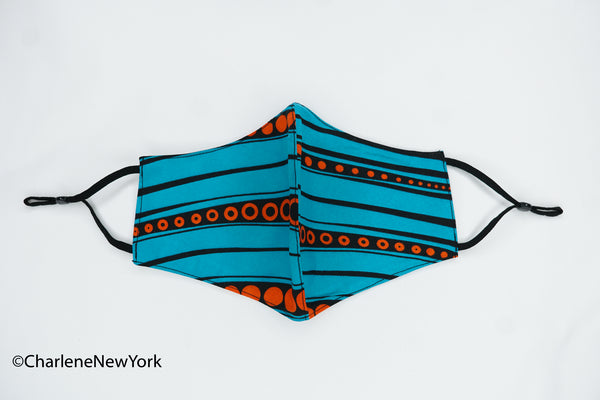 Mask: Turquoise With Orange Circles