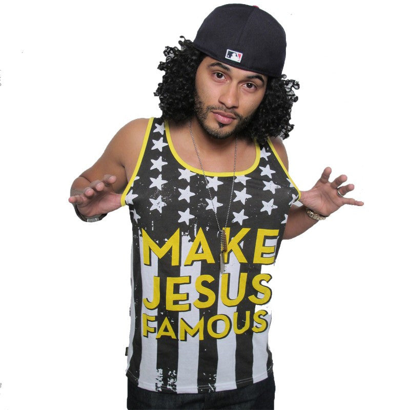 MAKE JESUS FAMOUS FLAG TANK