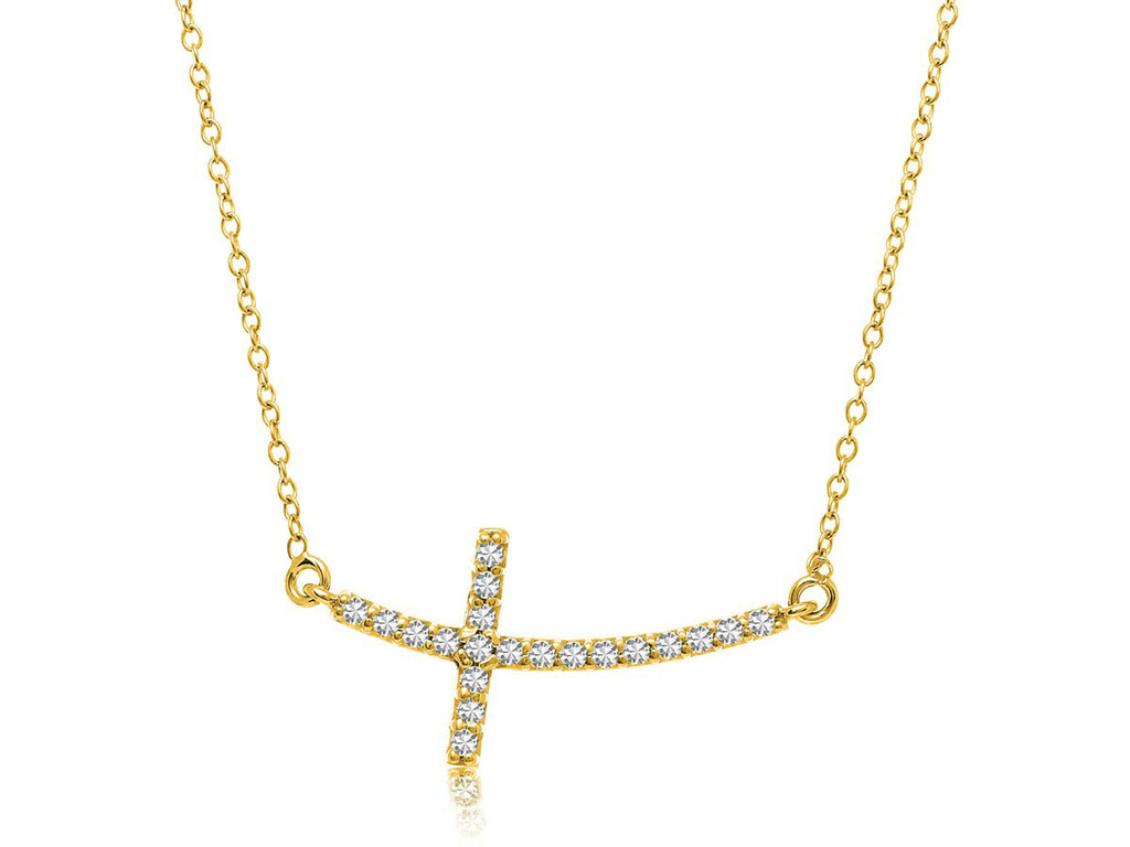 Curved Cross Diamond Necklace 14k Yellow Gold