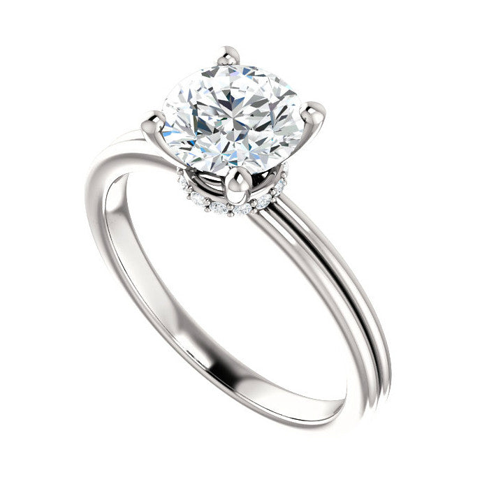 7mm Forever One Moissanite & Diamond Wrap Halo Ring