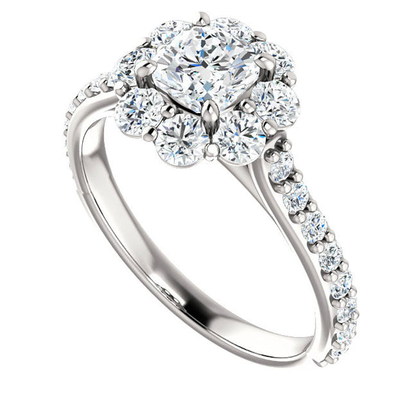 Cushion Diamond & Flower Halo Engagement Ring