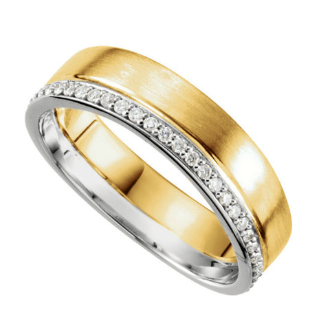 14K Two Tone Gold 6mm Diamond Band