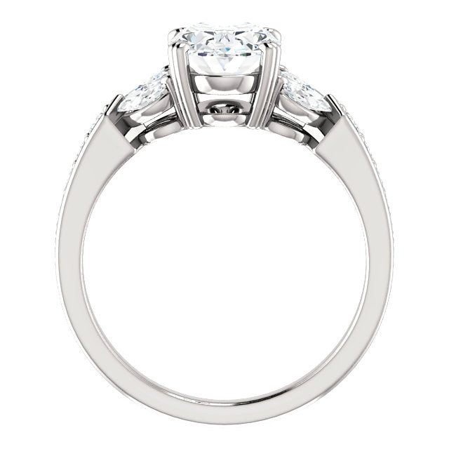 2.25 ct Oval Forever One Moissanite & Marquise Diamond Ring