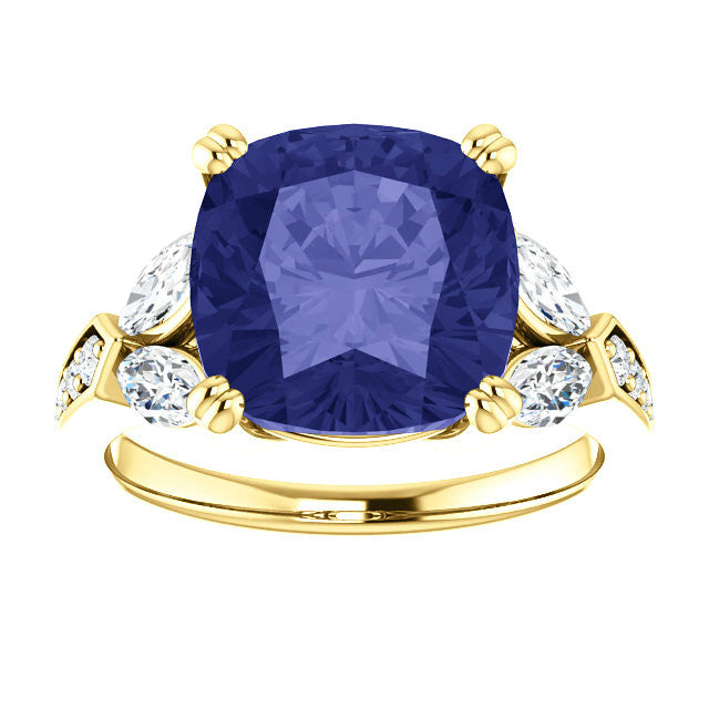 10mm Tanzanite & Diamond 18k Yellow Gold Ring