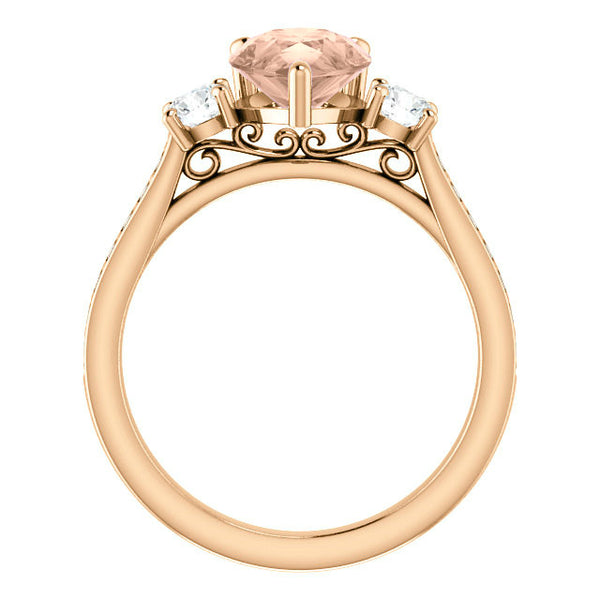 10x7mm Pear Morganite & Diamond Engagement Ring 14k Rose Gold