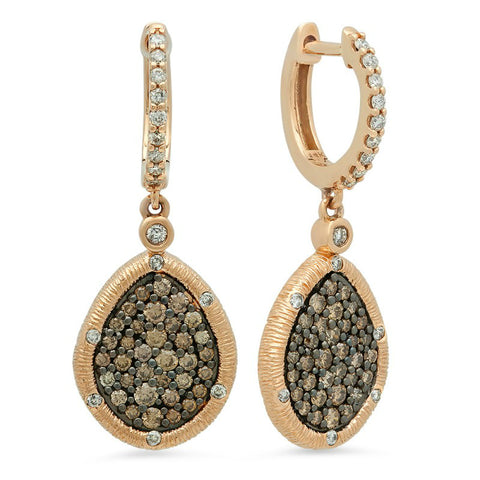 Chocolate Diamond & White Diamond Earrings
