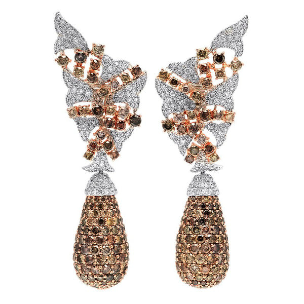 Brown Diamonds & White Diamond Earrings
