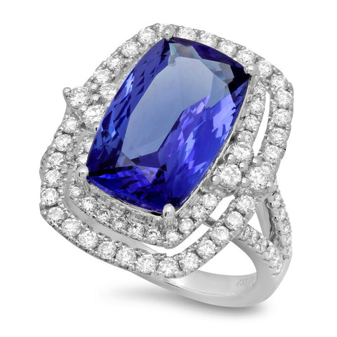 6.20 Carat Tanzanite & Diamond Double Halo Ring