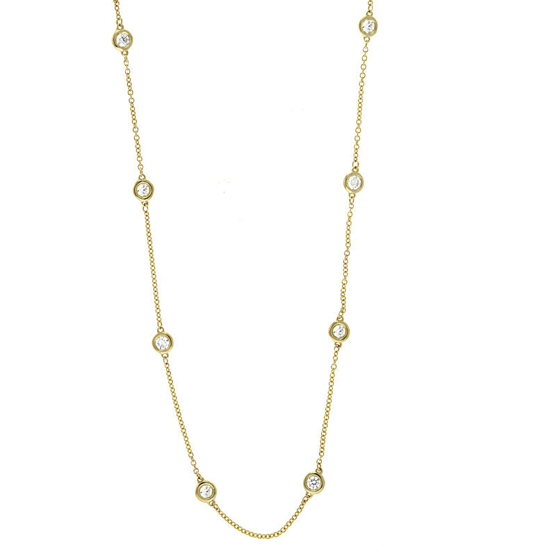 Diamond Station Necklace 14k Yellow Gold