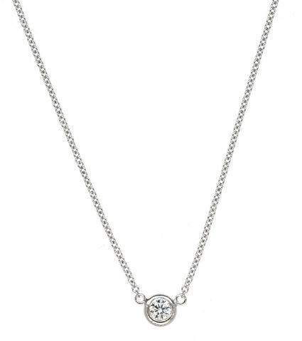 0.15 Carat Bezel-Set Diamond Solitaire Necklace 18k