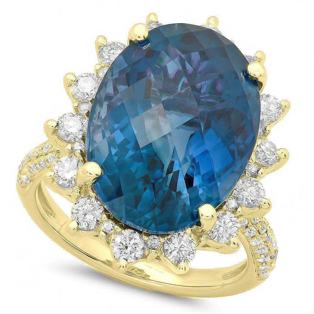 12 Carat London Blue Topaz & Diamond Ring