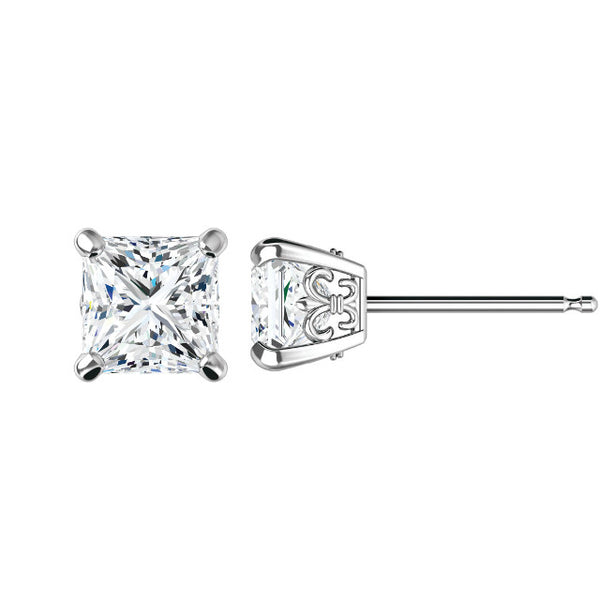 6.5mm Square Brilliant Forever One Moissanite Fleur De Lis Studs
