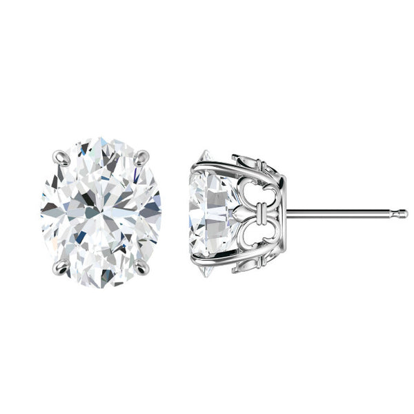 8x6mm Oval Forever One Moissanite Fleur De Lis Studs