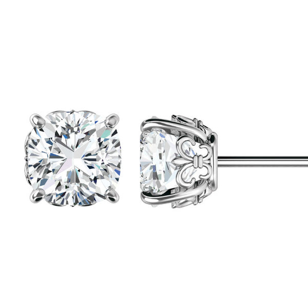 8mm Cushion Forever One Moissanite Fleur De Lis Stud Earrings