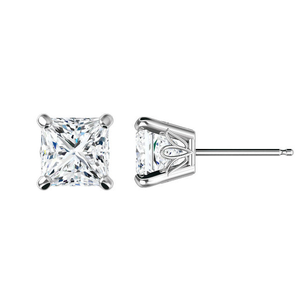 6.5mm Square Brilliant Forever One Stud Earrings