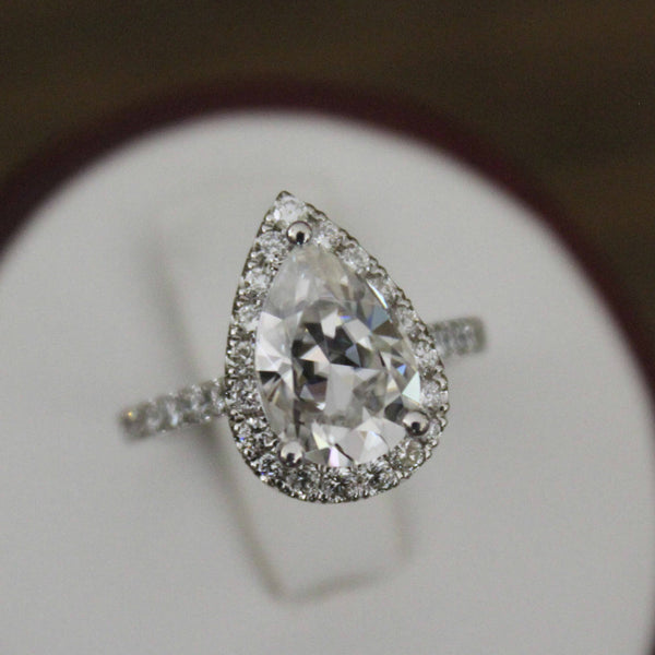 2.10 Carat Pear Forever One Moissanite & Diamond Ring 14k White Gold