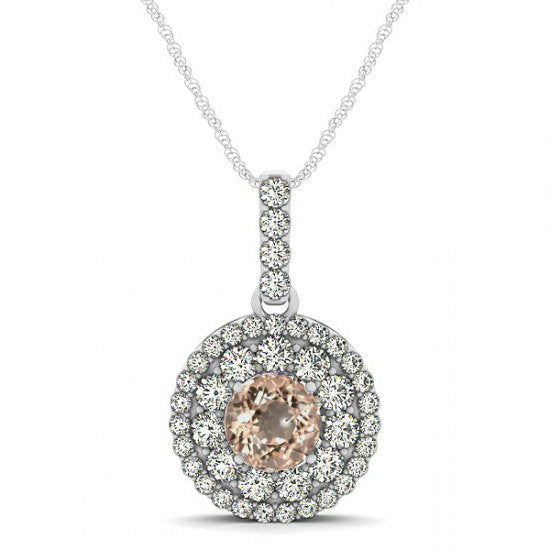 Morganite & Diamond Double Halo Pendant Necklace