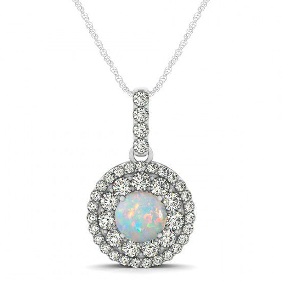 Opal & Diamond Double Halo Pendant Necklace