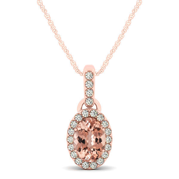 8X6 Oval Morganite & Diamond Halo Pendant Necklace