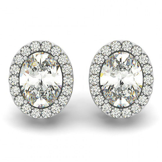 2 Carat Oval Forever One Moissanite & Diamond Studs