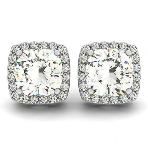 1 Carat Cushion Forever One Moissanite & Diamond Stud Earrings