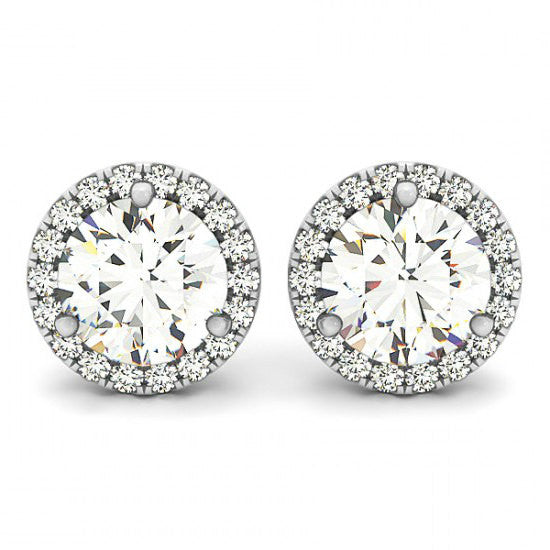 2 Carat Forever One Moissanite & Diamond Halo Stud Earrings