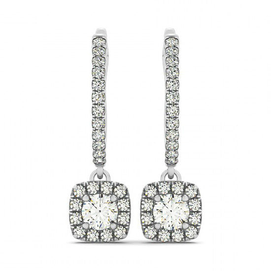 3 Carat Forever One Moissanite & Diamond Dangle Earrings