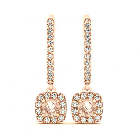 2 Carat Morganite & Diamond Dangle Earrings
