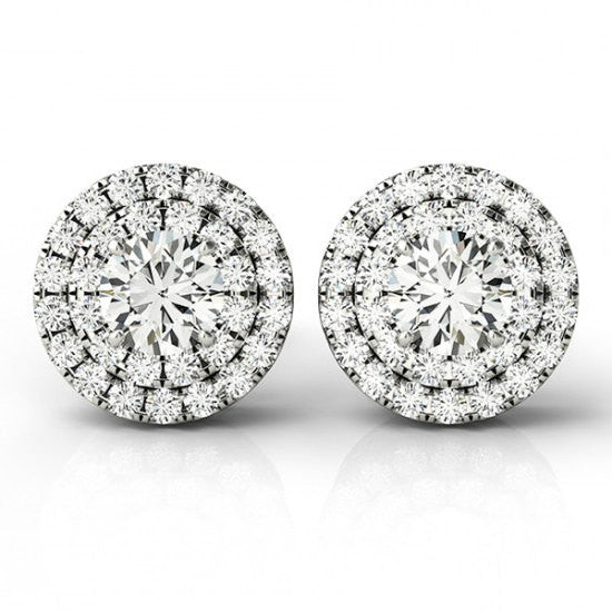 1 Carat Forever One Moissanite and Diamond Halo Stud Earrings