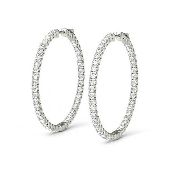 3.72 Carat Forever One Moissanite Hoop Earrings (36mm)